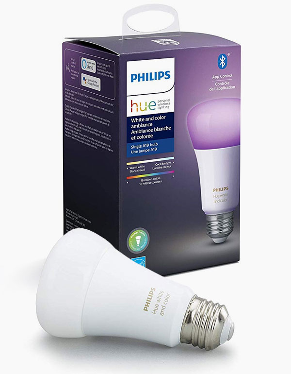 Philips Hue White & Colour Ambiance A19 Bulb with Bluetooth & ZigBee