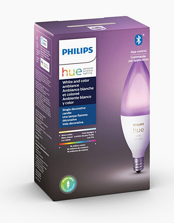 Philips Hue White & Colour Ambiance Chandelier Bulb with Bluetooth