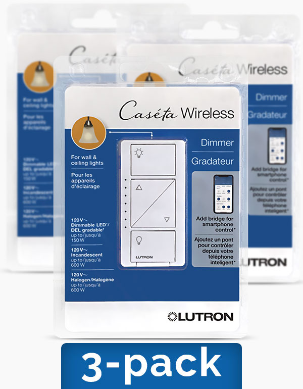 Lutron Caseta In-Wall Dimmer Switches, 3-pack