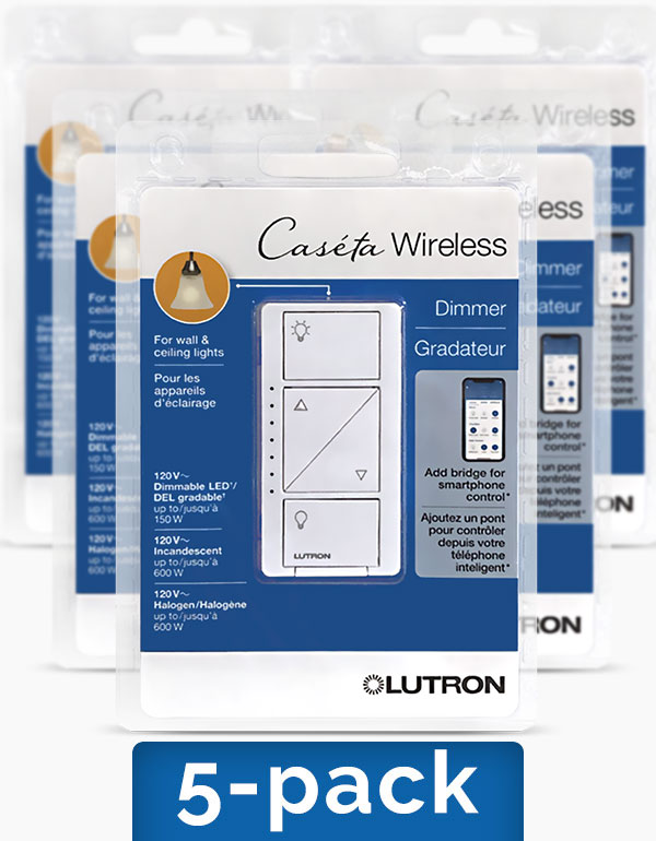 Lutron Caseta In-Wall Dimmer Switches, 5-pack