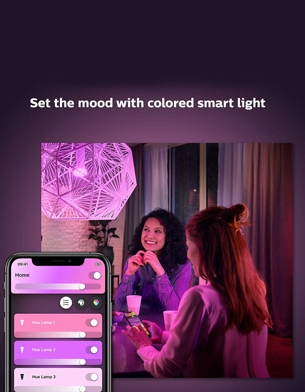Philips Hue White & Colour Ambiance A19 3-Pack Starter Kit with Smart Button and Smart Bridge
