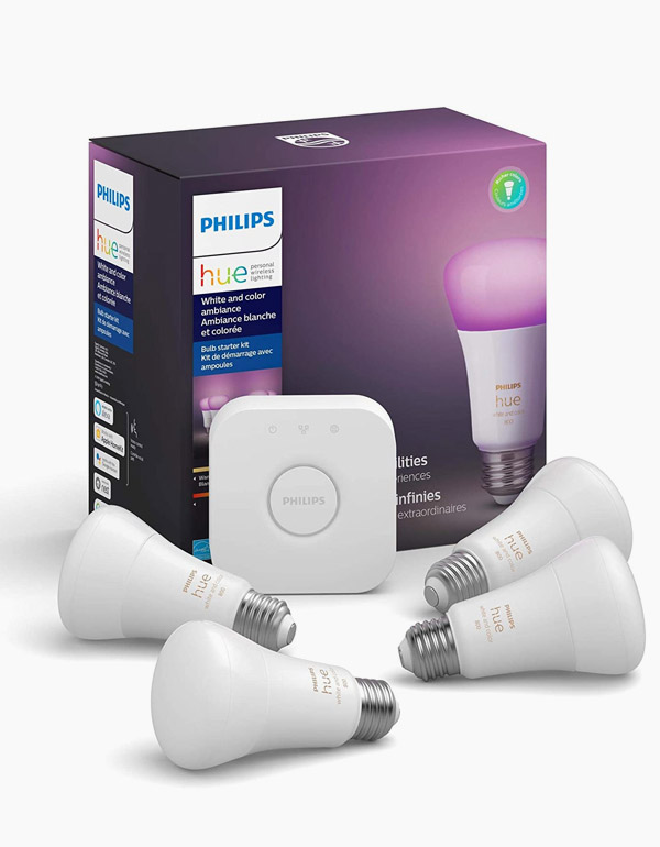 Philips Hue White & Colour Ambiance A19 4-Pack...