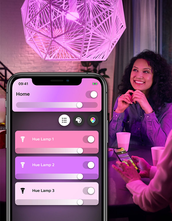 Philips Hue White & Colour Ambiance A19 4-Pack Starter Kit with Bluetooth