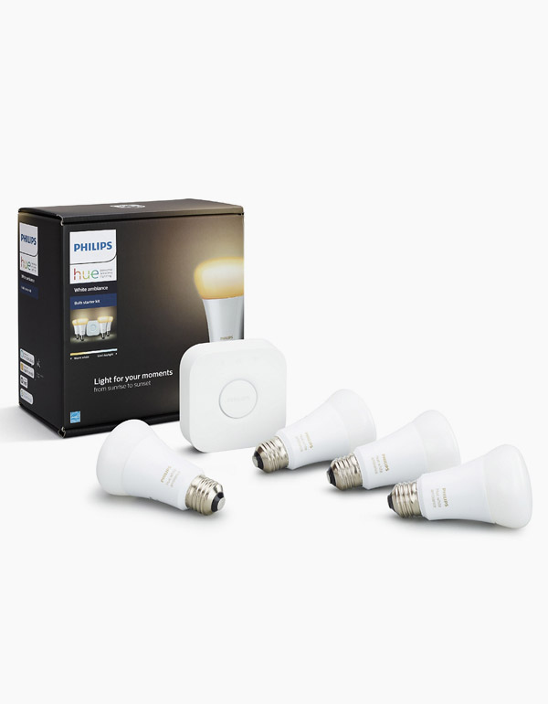 Philips Hue White Ambiance A19 4 Pack Starter Kit