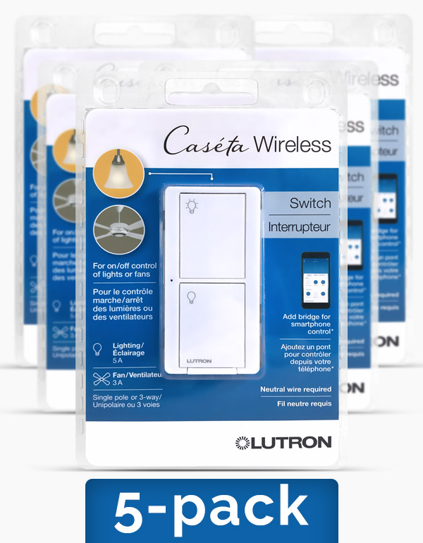 Lutron Caseta Light and Fan Switch, 5-pack